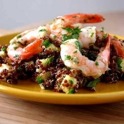 Red quinoa with pineapple and shrimp. | yum | Pinterest
