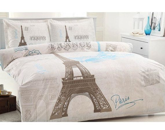 Eifel Tower print bedding. Cute for teen room with teal blue walls instead of white