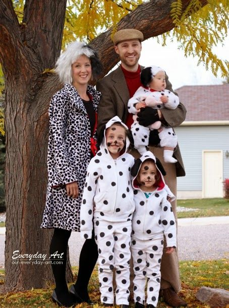 Everyday Art: DIY Family Halloween Costume: 101 Dalmations, Cruella de Vil and Jasper. Awesome Halloween Costumes for the whole family!