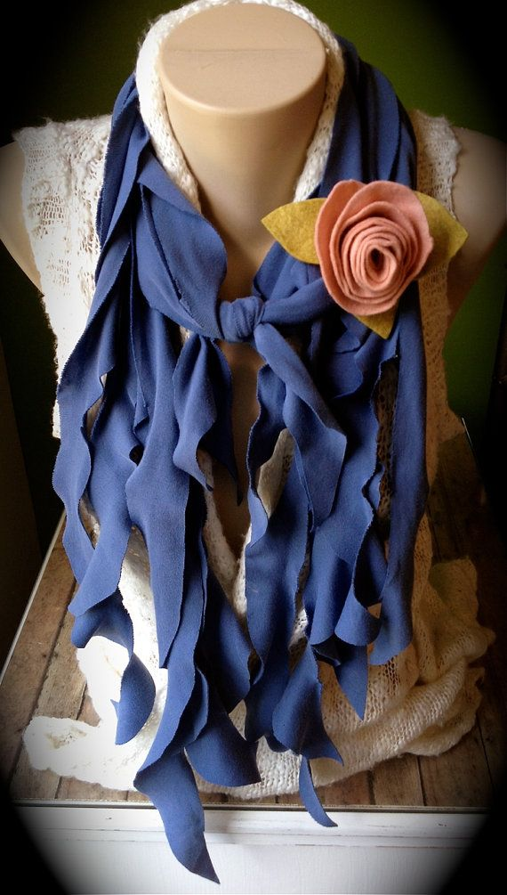 upcycled tshirt scarf steel blue w pale by
