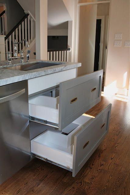 Drawers under kitchen sink via Autumn @ Design Dump Blog