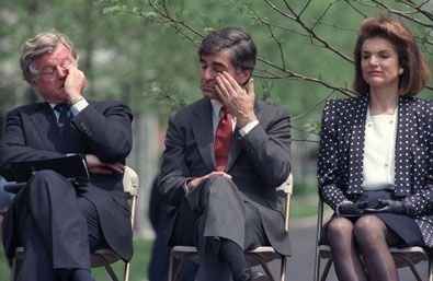 Edward Kennedy, Michael Dukakis, and Jacqueline Kennedy Onassis at the dedication of the John F. Kennedy Memorial, Harvard University, 1987.   (Photo: Peter Southwick)