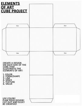 Elements of Art - Cube Project Worksheet #artideas | Art