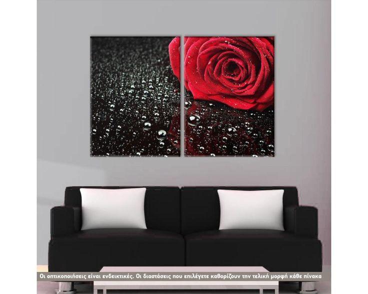 Rose with water drops, δίπτυχος  πίνακας σε καμβά (multipanel)