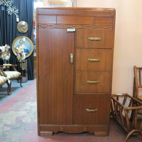 SOLD 230  Vintage antique art deco walnut armoire c