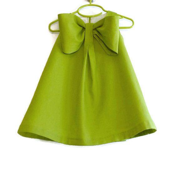 Big Bow Dress, Girls Spring Summer Dress,  Linen Blend Toddler A-Line Tent Shift, Flower Girl, Special Occasion Dress