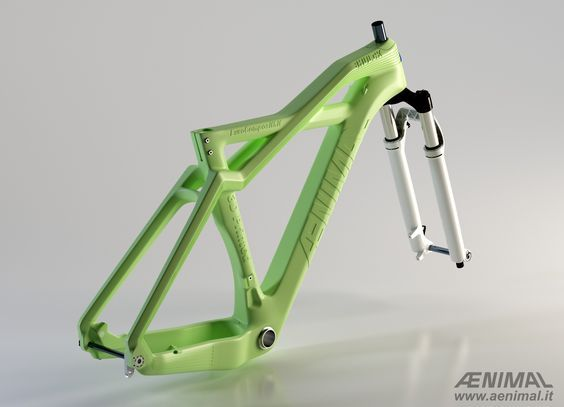 "AENIMAL Project: ""BHULK"" is a special MTB frame made with eco-compatible material using FDM (Fused Deposition Modeling) 3D printing.:"