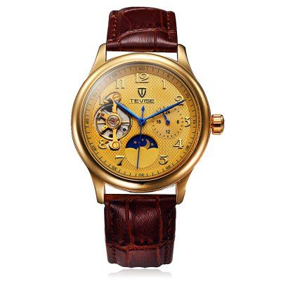 Tevise Tourbillon Design Leather Band Men Automatic Mechanical Watch-16.35 Online Shopping  GearBest.com