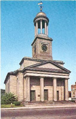 The Quincy Unitarian Church in Quincy, Massachusetts, under which John and Abigail Adams are entombed.
