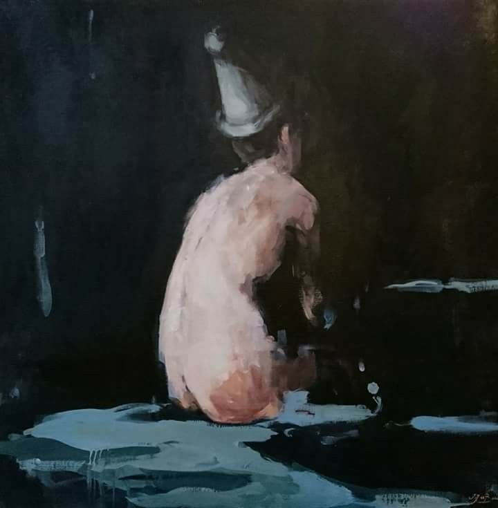 Jantien de Boer, Party!, 2016, oil on canvas, 100 x 100 cm.