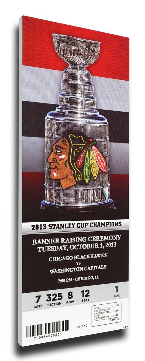 Chicago Blackhawks 2013 Stanley Cup Champions Banner Raising Canvas Mega Ticket