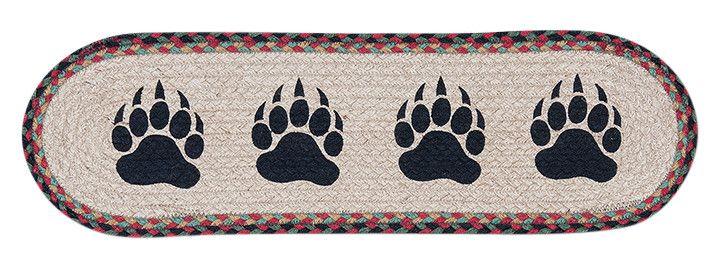 Best Bear Paw Prints Oval Braided Jute Stair Tread 49 St081Bp 640 x 480