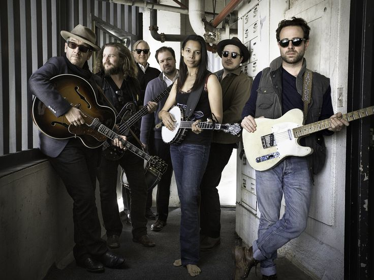 To create Lost on the River: The New Basement Tapes, T Bone Burnett (second from left) assembled the talents of Elvis Costello, Jim James, Jay Bellerose, Rhiannon Giddens, Marcus Mumford and Taylor Goldsmith.