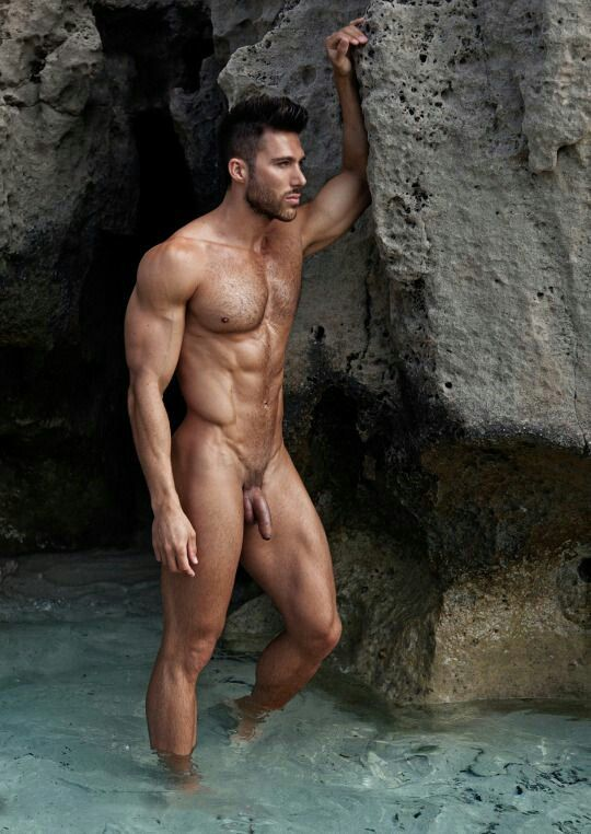 Nude male model full body