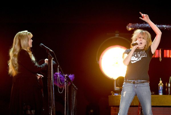 Singer/songwriter Stevie Nicks and musician Chrissie Hynde of The Pretenders perform at The Forum on December 18, 2016 in Inglewood, California.