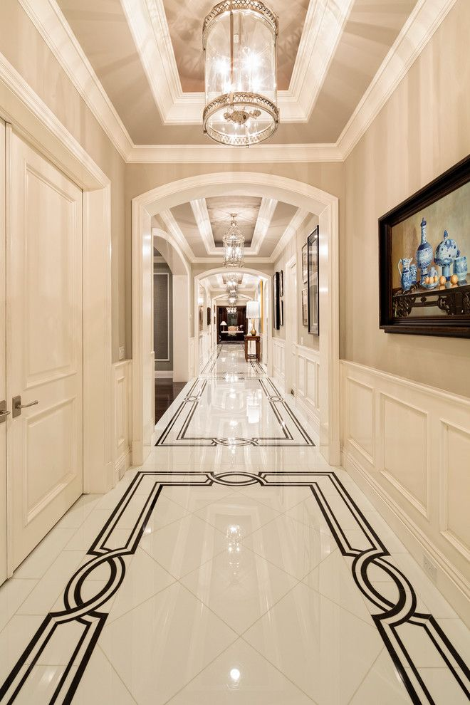 mediterranean-hall marble floor with border wainscotting wall decor ideas