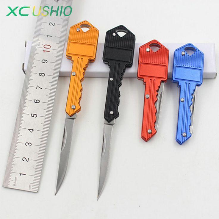 Mini Kamp Anahtarlık Katlanır Bıçak Bıçak Taşınabilir Avcılık Katlama Bıçak Sağkalım Cep anahtarlık Bıçak Açık Aracı 4 Renkler