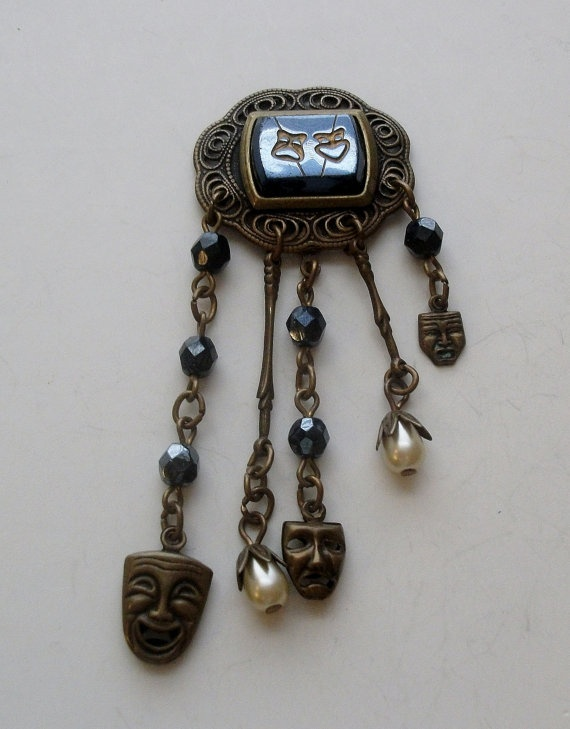 Antique Comedy and Tragedy Theater Mask Pendant with by onetime, $3.25