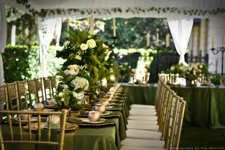 Elegantly styled reception and marquee in Evergreen Garden Venue