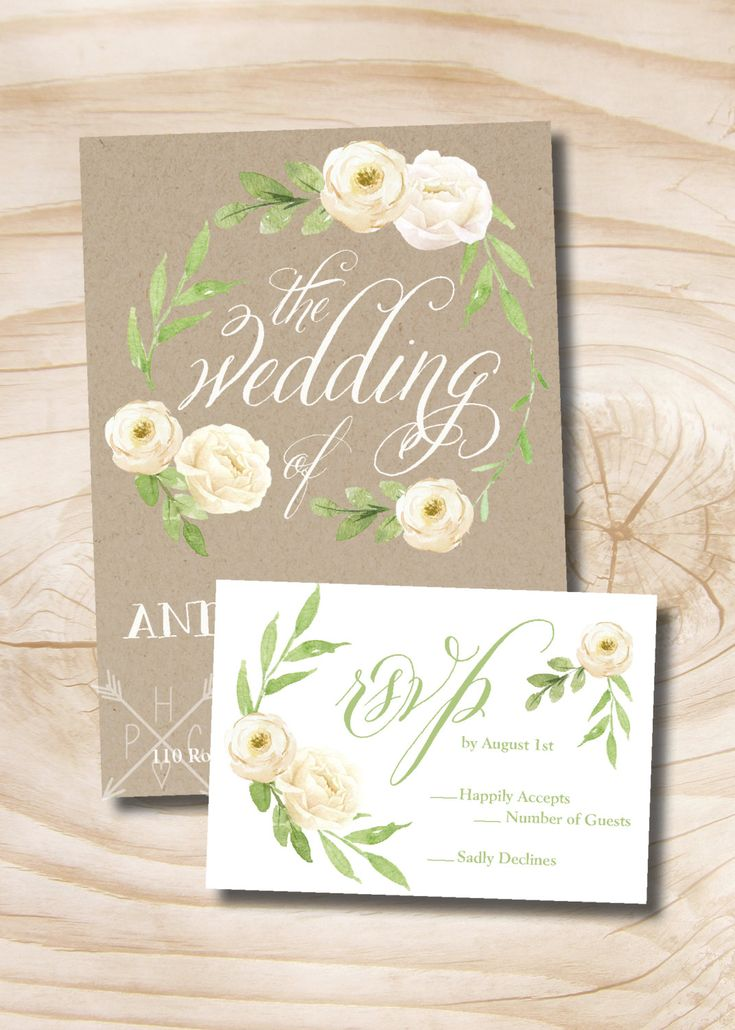 Watercolor Fl Wreath Wedding Invitation Response Card Suite Foliage