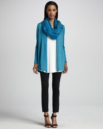 Merino Long Cardigan, Jersey Long Tunic, Cross-Dyed Scarf & Ponte Skinny Ankle Pants by Eileen Fisher at Neiman Marcus.