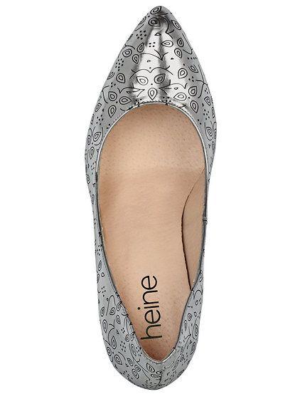 Dámské boty na podpatku HEINE - stříbrná