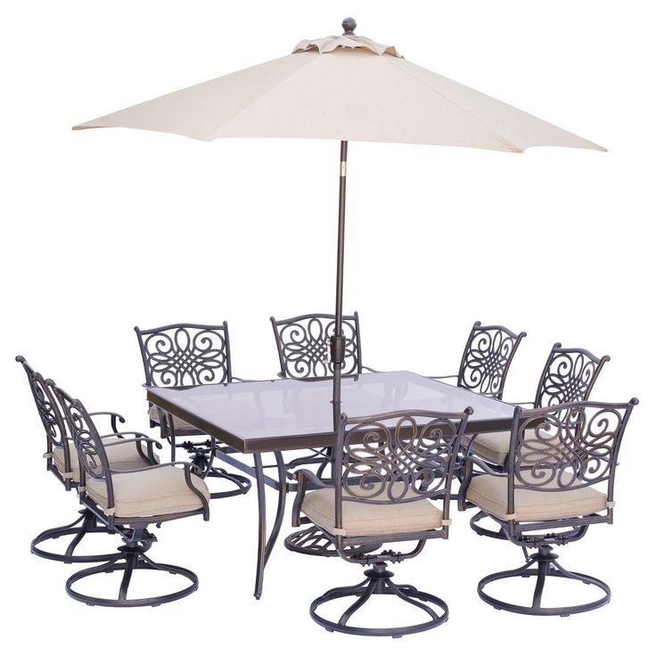 Traditions 9 Pc Square Dining Set With Eight Swivel Dining Chairs, Square Glass Top Dining Table, Umbrella And Base - Tan - Hanover
