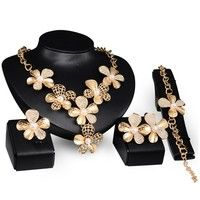 Wish | Fashion Flower Jewelry Set 18K Gold Plated Statement Flower Pearl Necklace Earring Bracelet Ring Set for Women (Color: Gold)