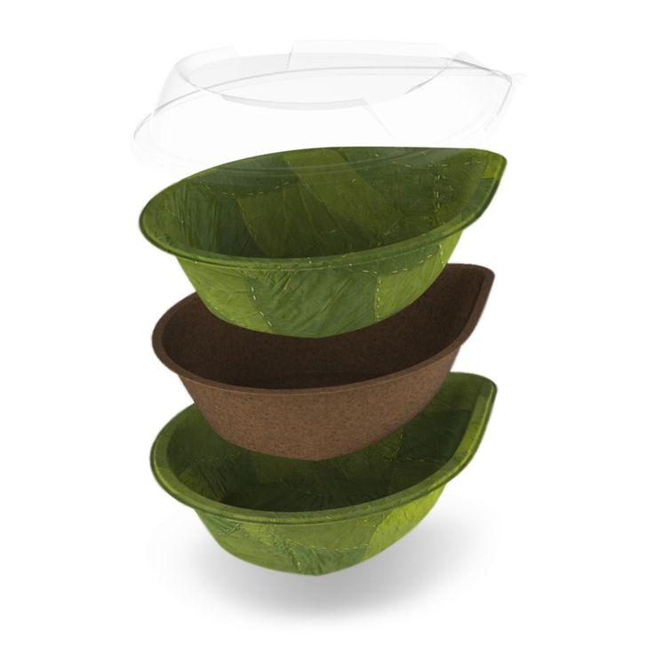 Platos biodegradables hechos con hojas naturales que se descomponen en 28 días.  Una hoja impermeable y biodegradable que sólo necesita 28 días para descomponerse. Esta tecnología no utiliza aditivos sintéticos, colorantes artificiales ni pegamento. Además, no se cortan árboles para la producción de estos envases.