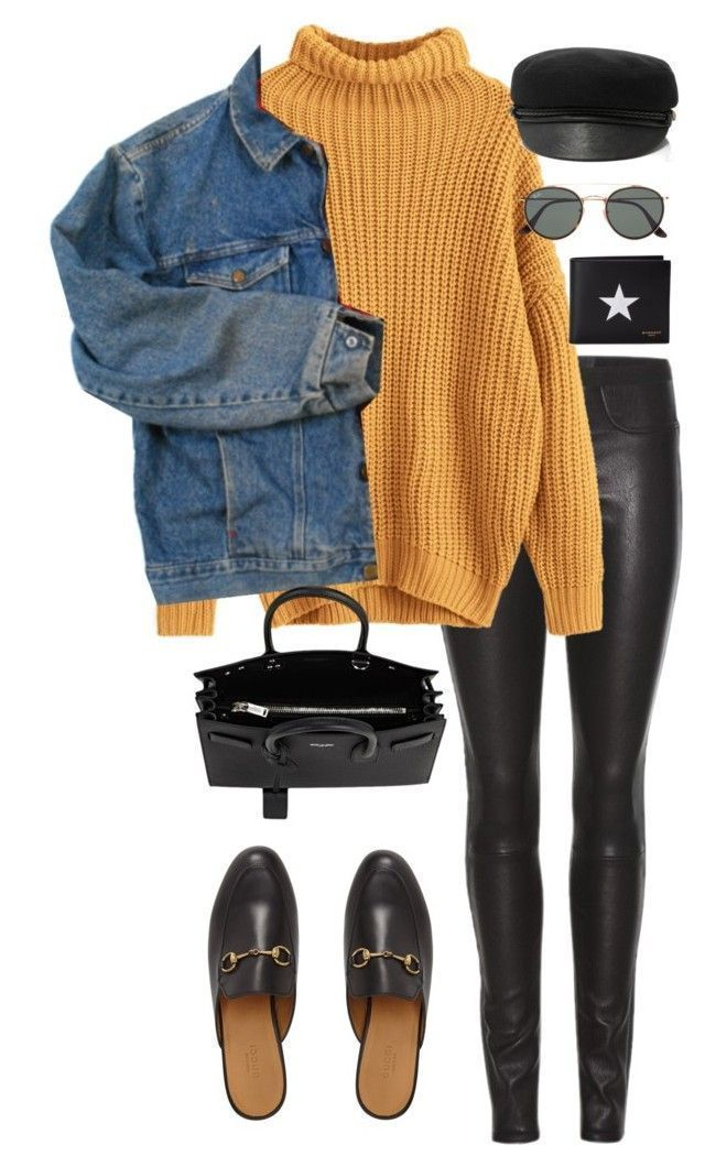 Yellow turtleneck sweater with black leggings, slippers and denim jacket. 2016, …