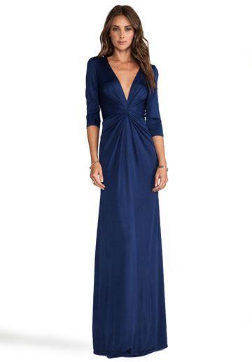 ISSA 3/4 Sleeve Long Dress in Midnight - Dresses