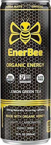 EnerBee Organic Sparkling Energy Drink, Honey Lemon Green Tea, 12-Ounce (Pack of 12) -- Click image for more details.