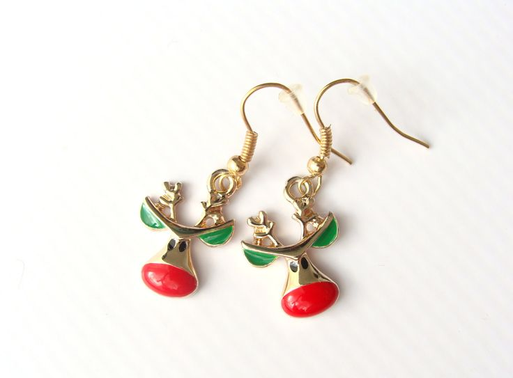 Earrings Rudolph the Red by CarolinePrecjoza on Etsy