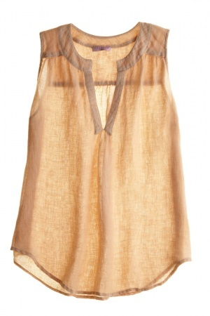 Shirred Yoke Tank from Calypso, Linen $85