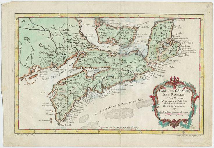 Carte de l'Acadie, Isle Royale et Pais Voisins pour servir à l'histoire générale des voyages, 1757.  CA ANC NMC-114CA ANC NMC-114