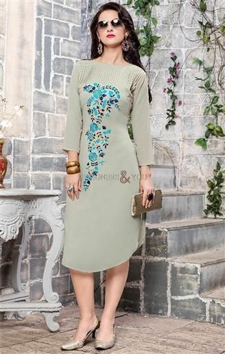 0da3f86dd40  Shop This Artistic Grey Georgette  Designer  Embroidered  High Low Girls   Kurti. This Latest  Fancy  Style High Low Top Has 3 4th Sleeves