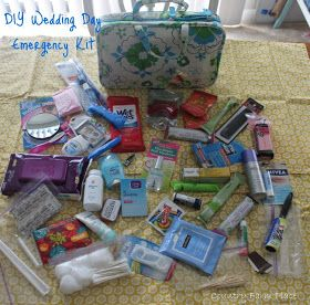 DIY Wedding Day Emergency Kit- there is a lot in here... but good for ideas!