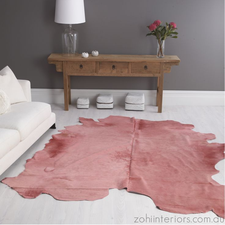 Rose Cow Hide Rug Brilliant Dyed From Zohi Interiors On Throughout March 1240