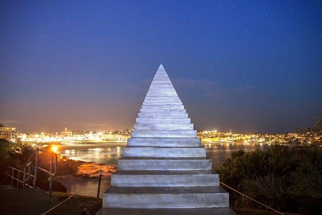 "Infinite Staircase sculpture in Bondi, Australia called ""Diminish and Ascend"" by artist David McCracken"