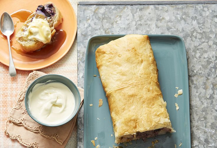 You've had an apple strudel, prepare yourself for a delish pear & blueberry strudel! This German classic is wrapped in crisp golden pastry & drenched in caramel.