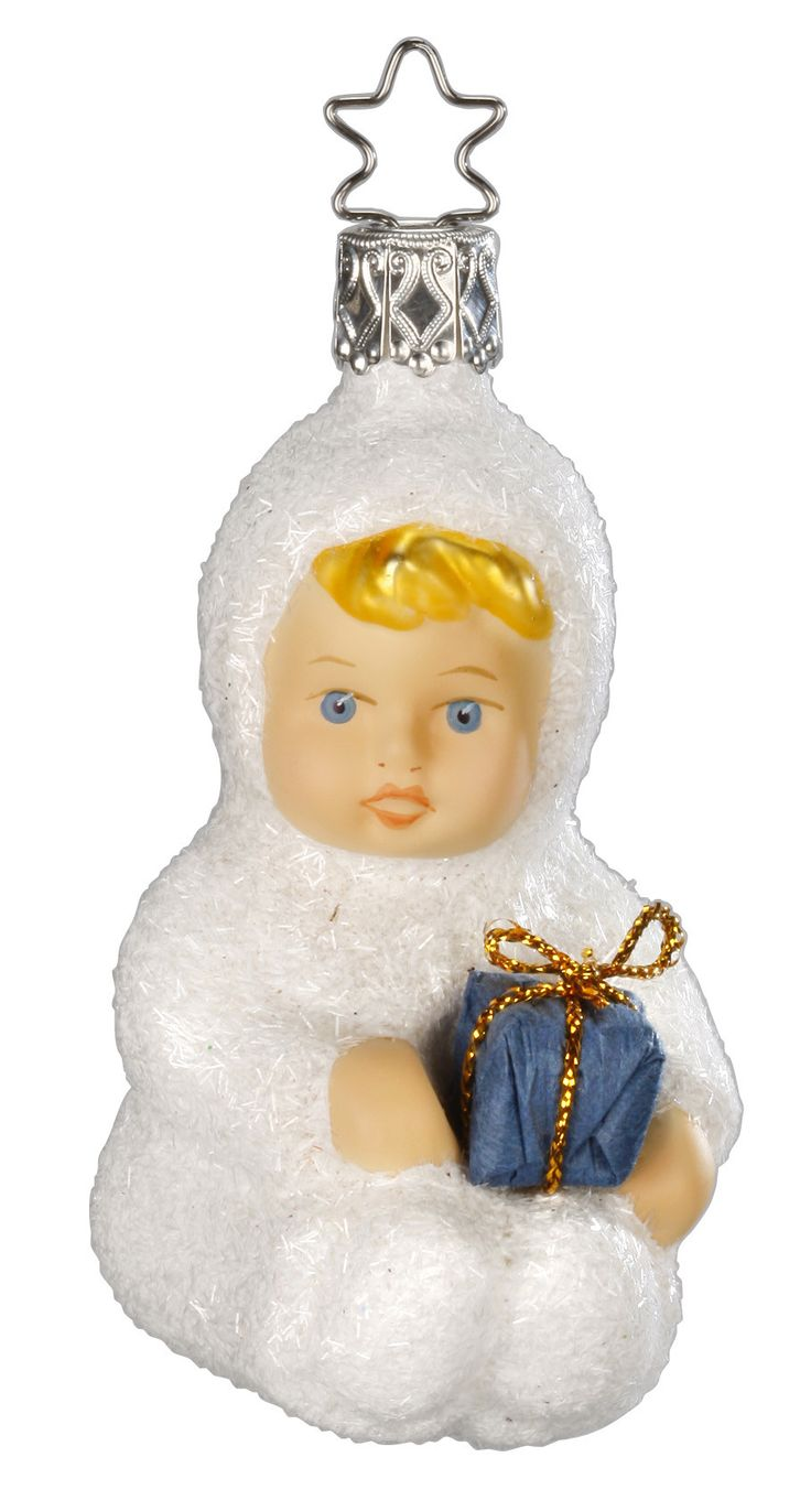 Snowbaby ornaments - Kinder Of Sharing Bringing A Gift Wrapped In Blue