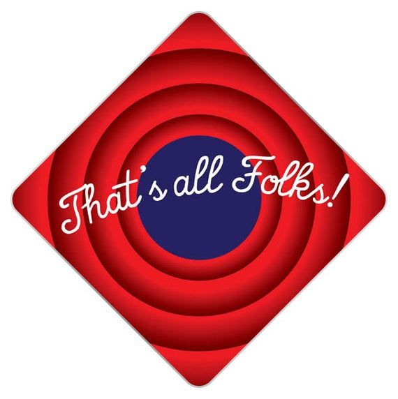 That's All Folks Decorated Grad Cap - Decorating Kit - Ideas for Graduation Caps Tassel Toppers - Gr