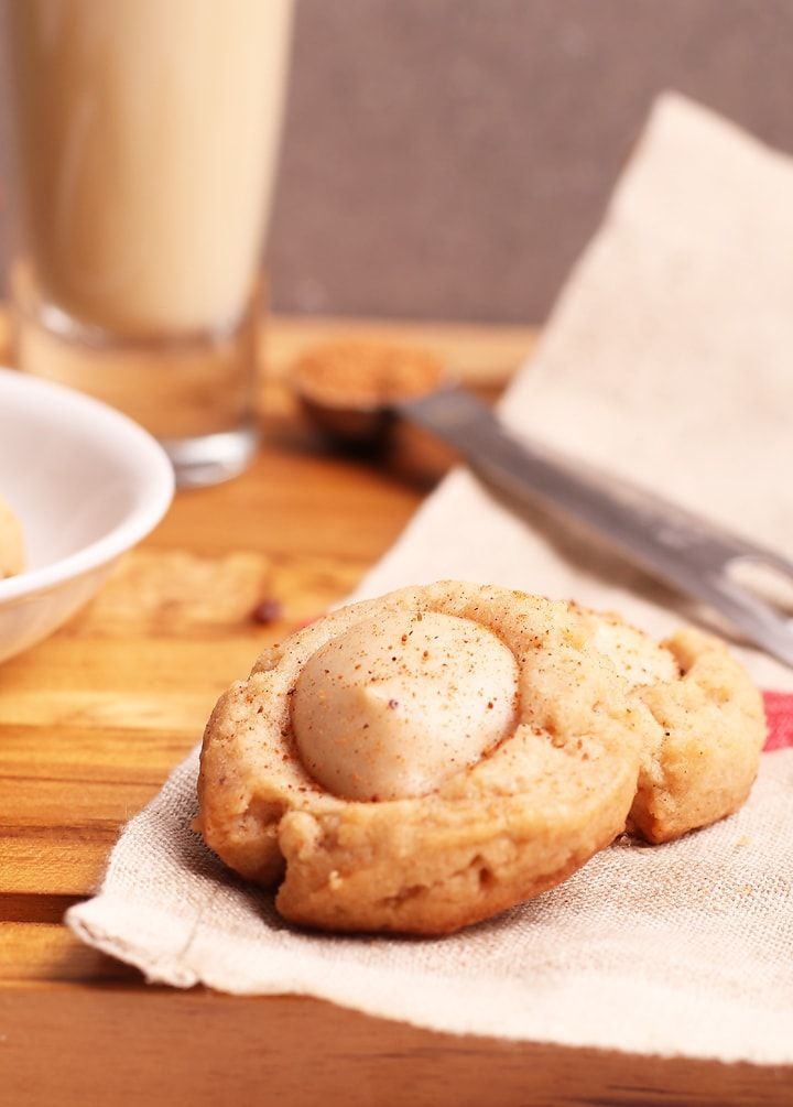 A Buttery Spiced Treat Filled With Creamy Eggnog Flavored Cheesecake These Vegan Eggnog Thumbpr Eggnog Cheesecake Vegan Christmas Cookies Recipes Vegan Eggnog