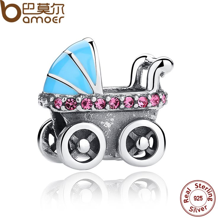 BAMOER New Spring Collection 925 Sterling Silver Baby Stroller Blue Car Charms fit  Bracelet DIY Accessories SCC010