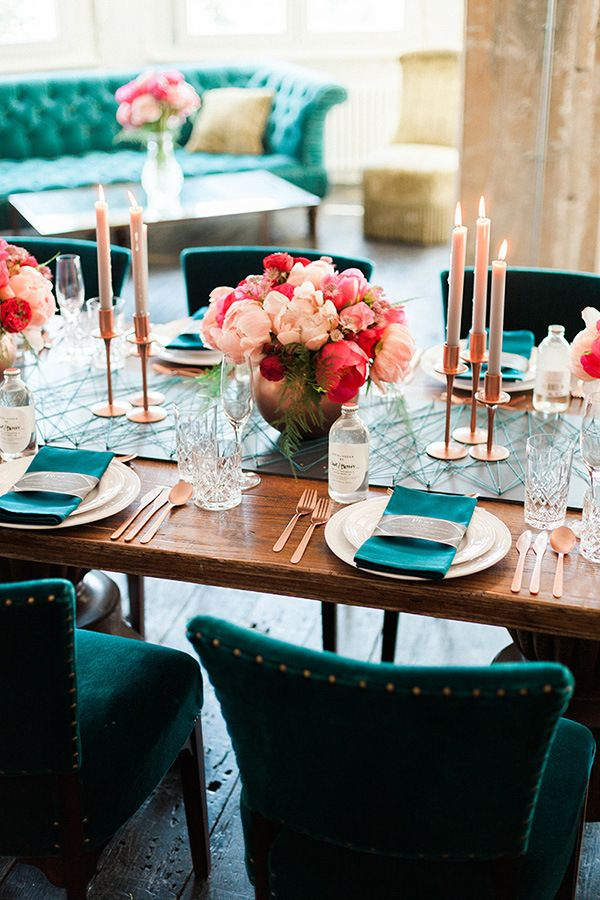Geometric Table Runner with Metallic Accents and Lush Flowers | Ashley Ludaescher Photography | Rose Gold and Peony - Modern Metallic Wedding Shoot in Teal and Copper