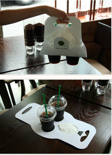 Beverage holders that are so much better than those Styrofoam things they give you at Starbucks.   31 Mind-Blowing Examples of Brilliant Packaging Design
