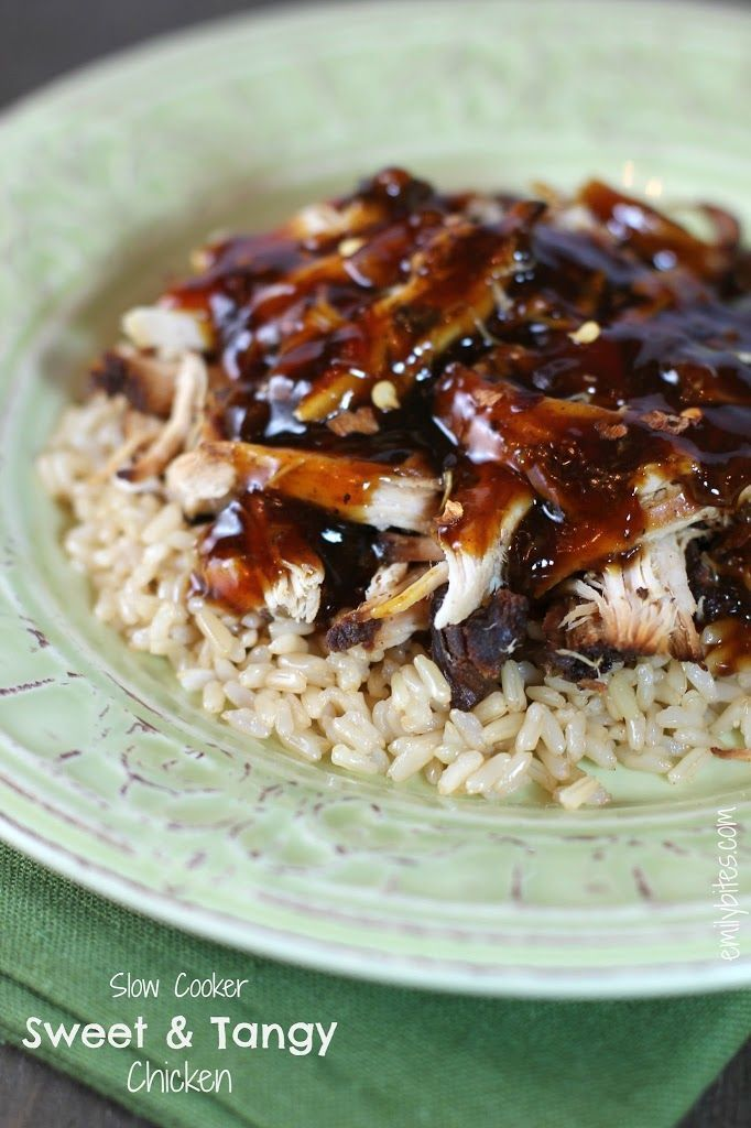 Slow Cooker Sweet & Tangy Chicken - Emily Bites