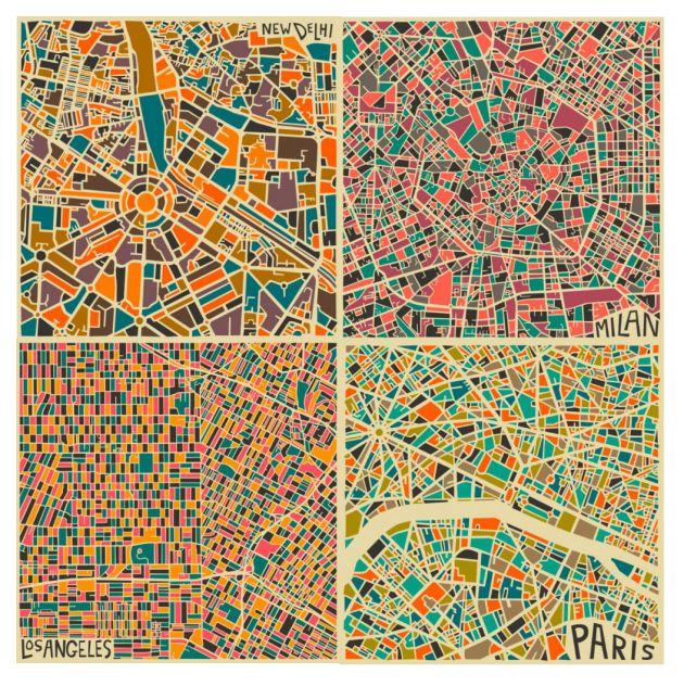 Voici une exploration abstraite des villes du monde. L'artiste Jazzberry Blue est basée à Toronto et travaille à partir de cartes de grands centres urbains. C'est une nouvelle perception des différentes morphologies urbaines qui nous est offerte