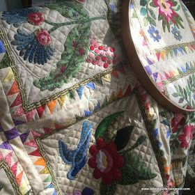 Hand quilting on my Caswell quilt is continuing in earnest. Every spare moment I have is spent on the 'throne' in the sewing room with need...