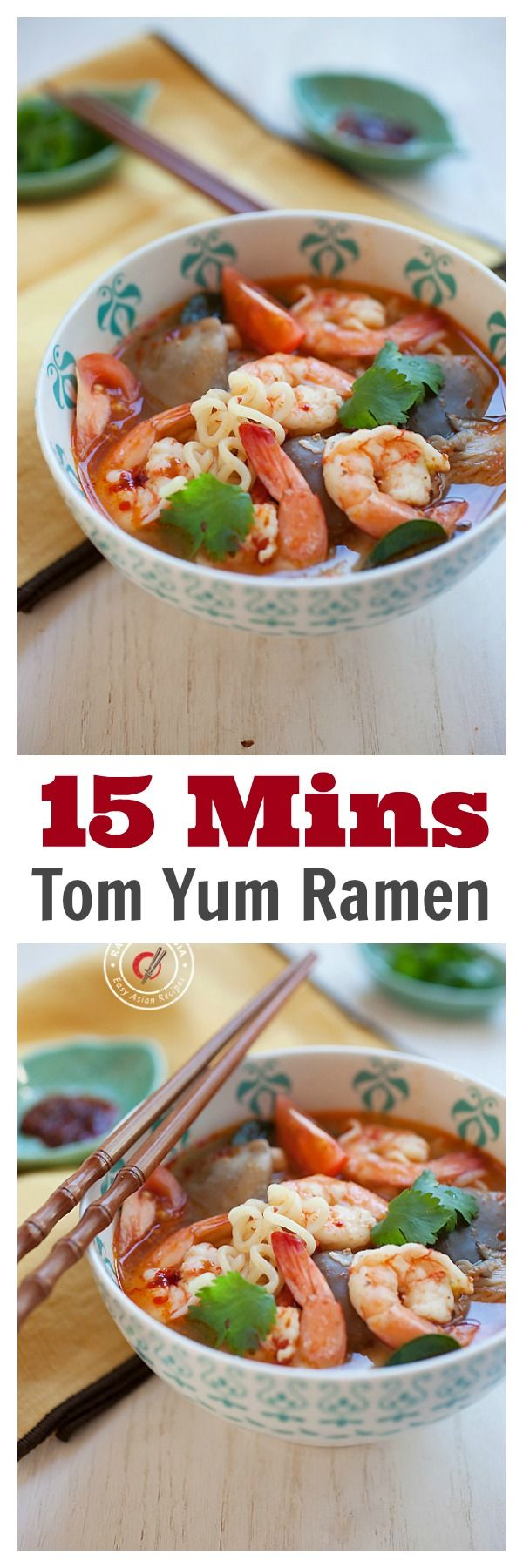15 mins Tom Yum Ramen -  not instant ramen, but made from scratch, super EASY Thai Tom Yum Shrimp Ramen. So GOOD | rasamalaysia.com